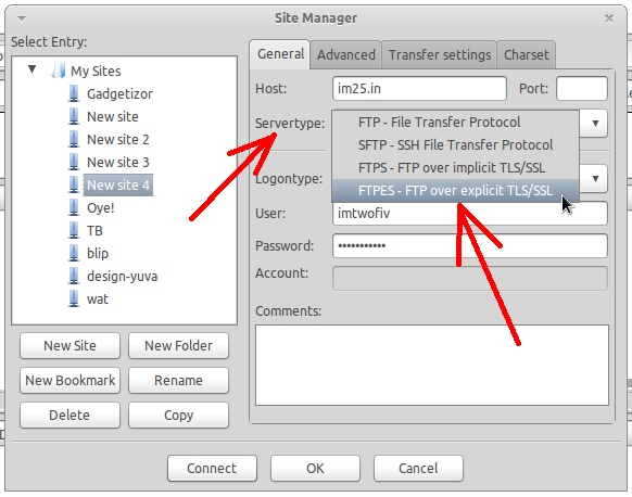 Set FTPES protocol from the Servertyp dropdown in Filezilla