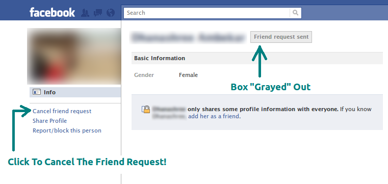Cancel an already sent Facebook friend request