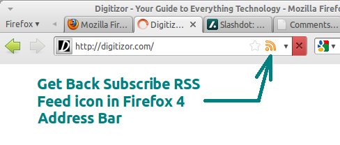 Firefox 4: Get the RSS Feed Subscription icon back in the Address bar