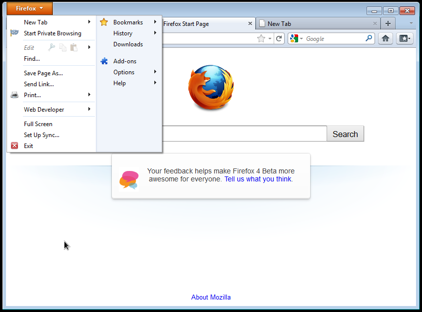 Firefox 4 Running on Windows 7