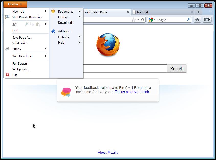 Firefox 4 Running on Windows 7