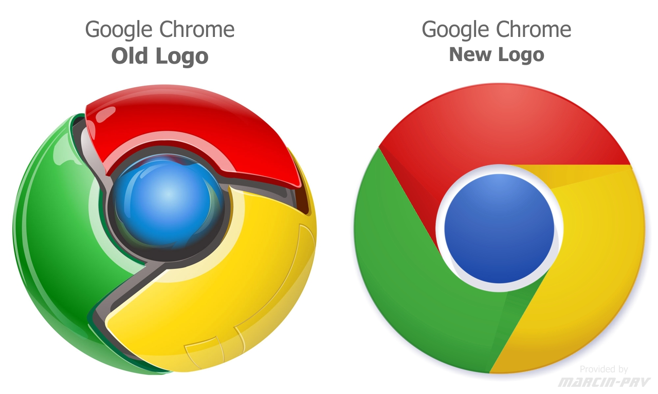 Google Chrome: Old Logo v/s New Logo