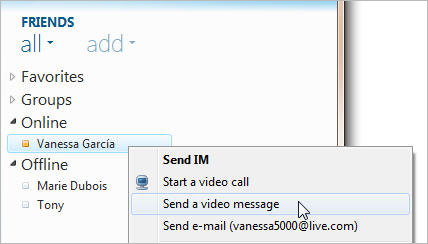 Windows Live Messenger: Send Video message to your friends