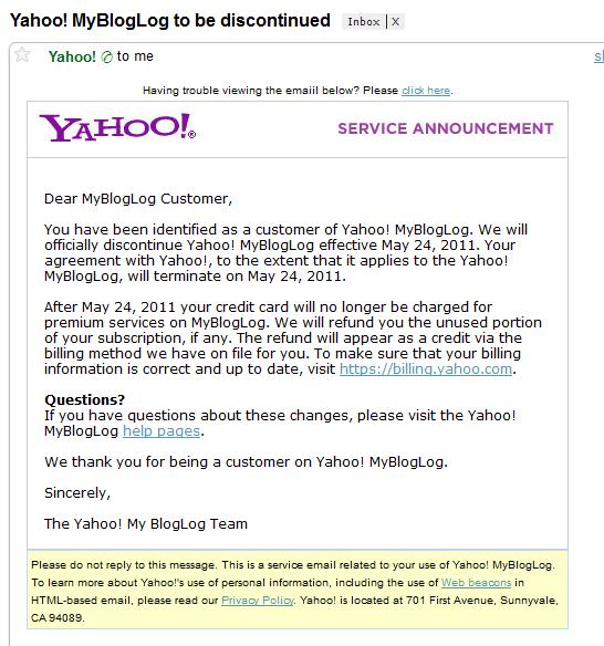 MyBlogLog discontinued by Yahoo!