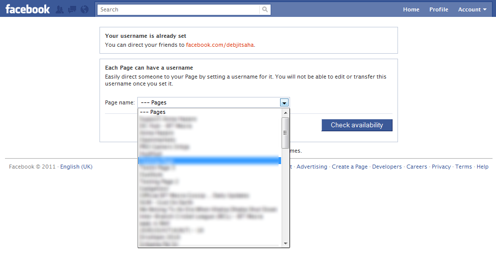 Facebook Fan Page Usernames: Select Fan Page from drop down