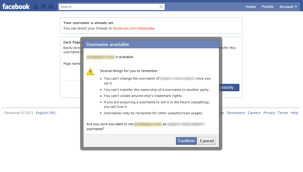 Facebook Fan Page Usernames: Confirmation dialog