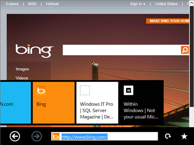 Windows 8 Immersive UI - Thumbnail Tabs
