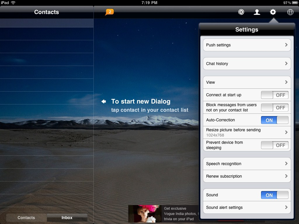 IM+ for iPad: Various Options and Settings