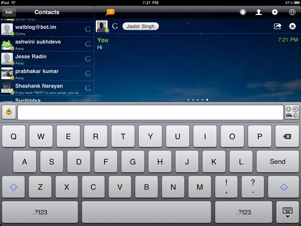 Chatting with a Google Talk (GTalk) contact on IM+ for iPad