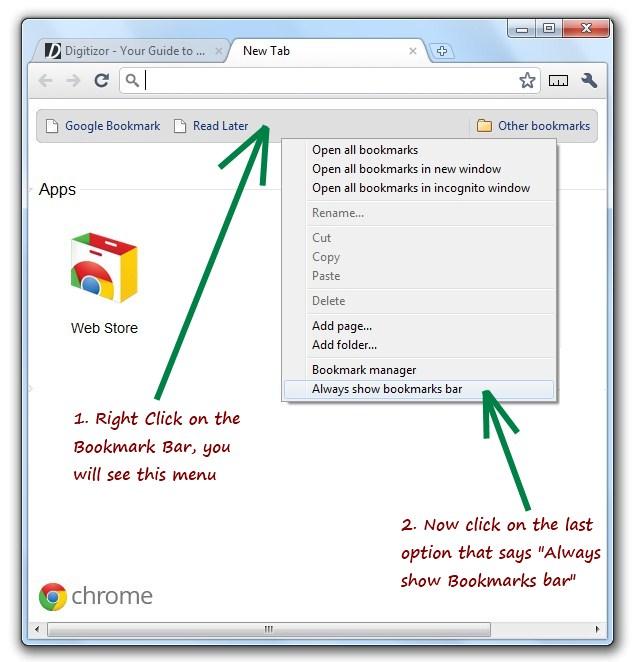 Google Chrome: Enabling bookmarks bar on all tabs