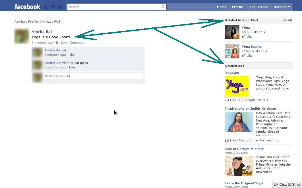 Related Ads and Fan Pages in the sidebar on Facebook.com