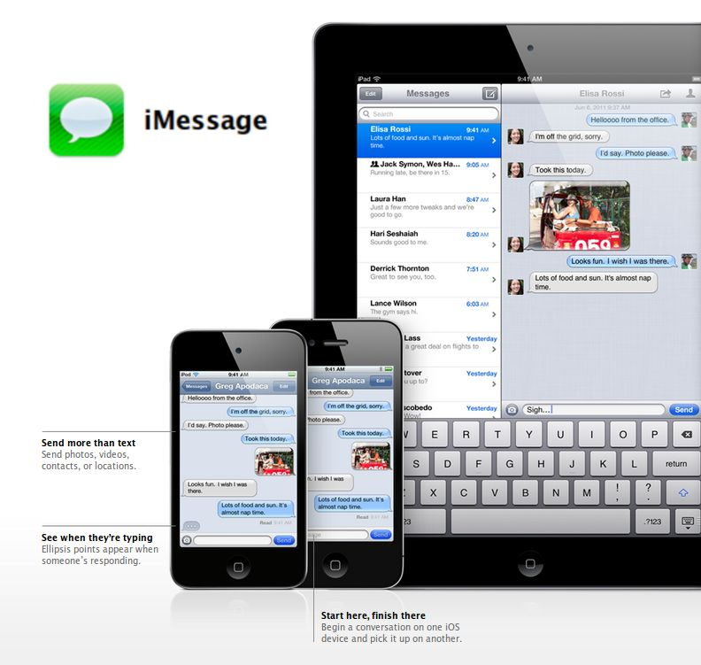 iMessage - on iPad and iPhone