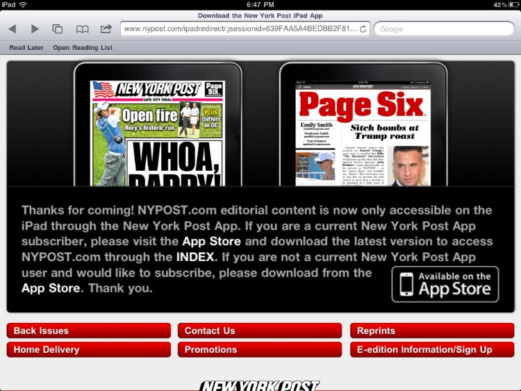 Users redirected to iPad app page on NYPost.com