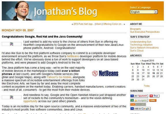 Jonathan Schwartz's Blog Congratulations Google, Red Hat and the Java Community
