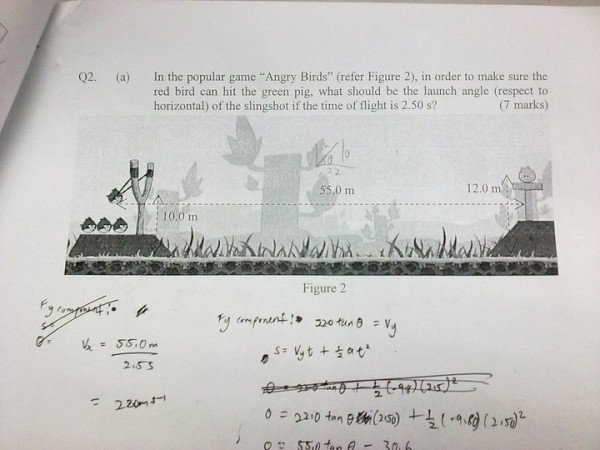 Angry Birds in Physics / math Exam question paper