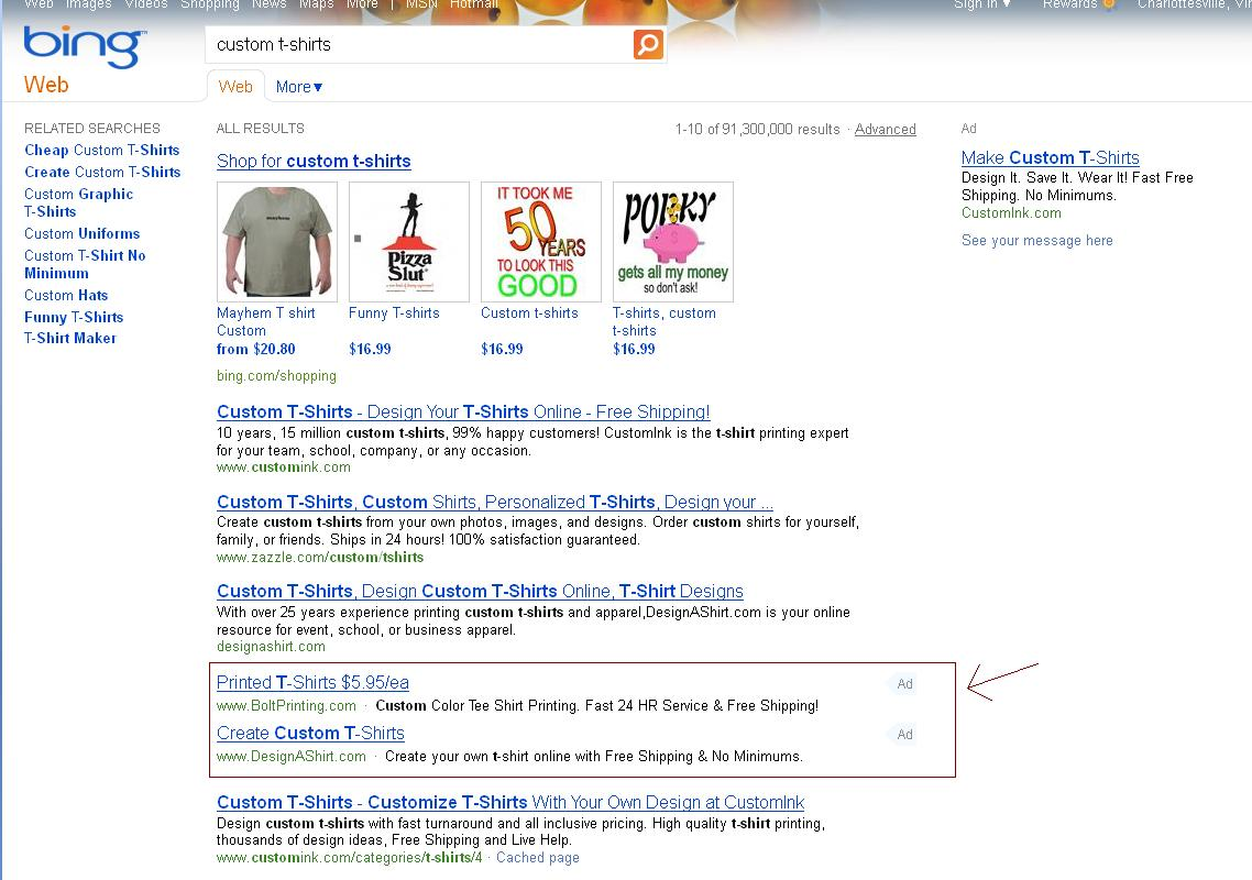 Text Ads within organic results in Bing search