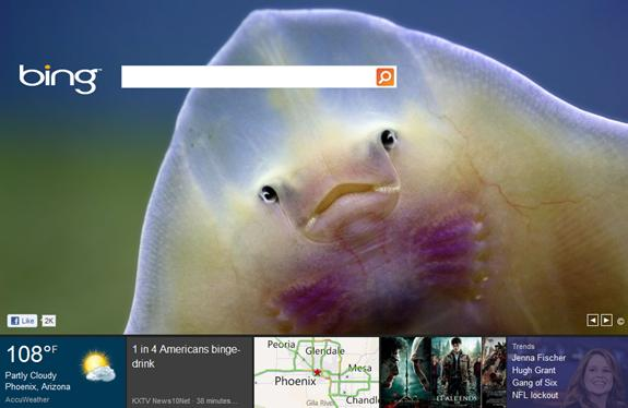 Metro UI style LIVE Tiles on Bing Search home page