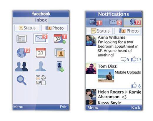 Screenshot: Facebook Mobile app for Java platform