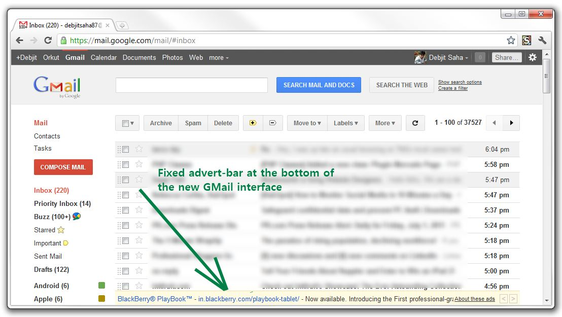 Fixed ad-bar at the bottom of new GMail
