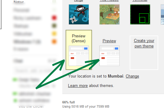 New Preview and Dense Preview themes in GMail