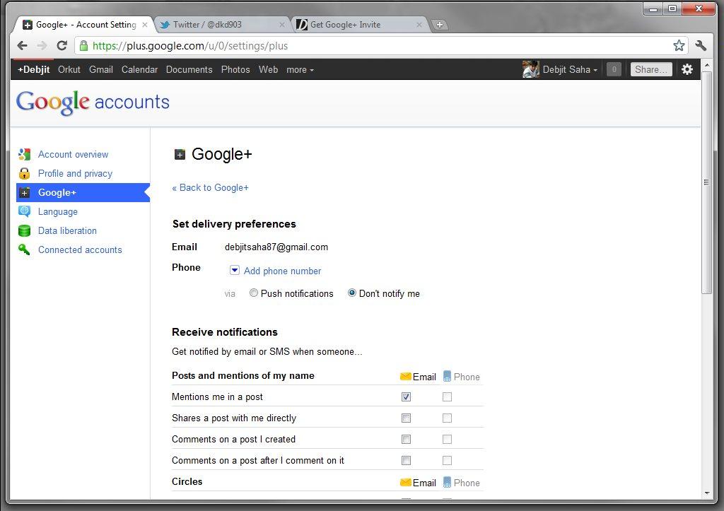 Google Plus Settings Page