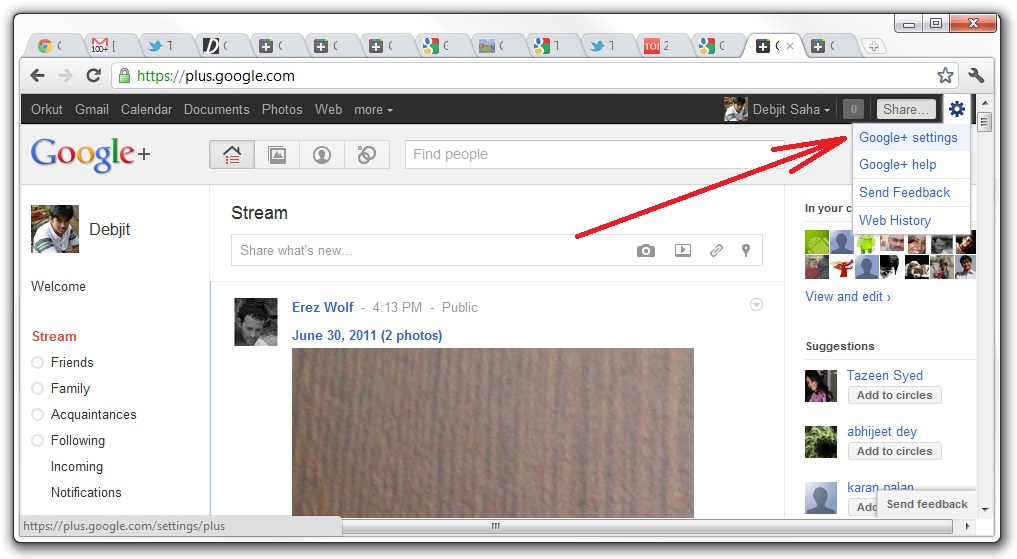 Google Plus settings link