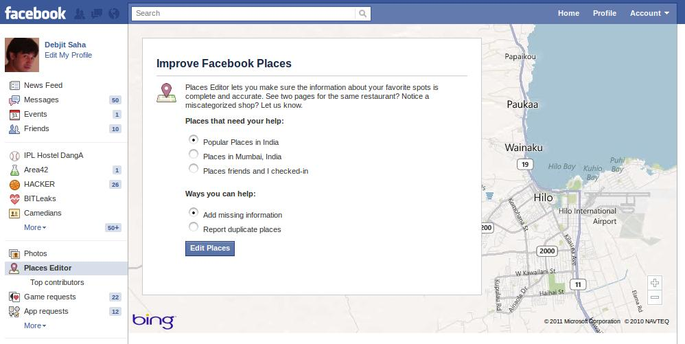 Options page in Facebook Places Editor