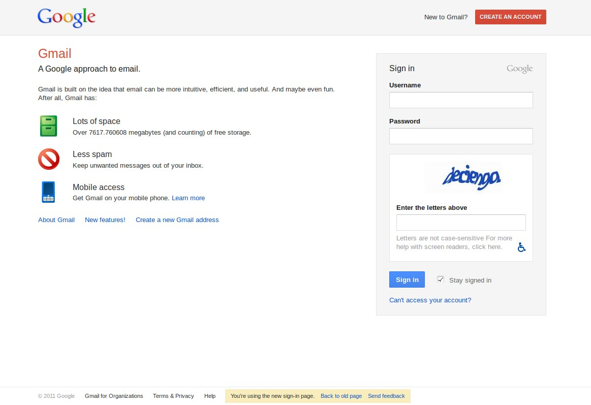 New GMail / Google Account Login Screen with Captcha