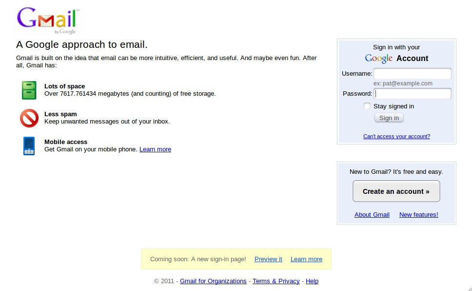 Old (current) GMail / Google Account Login Screen
