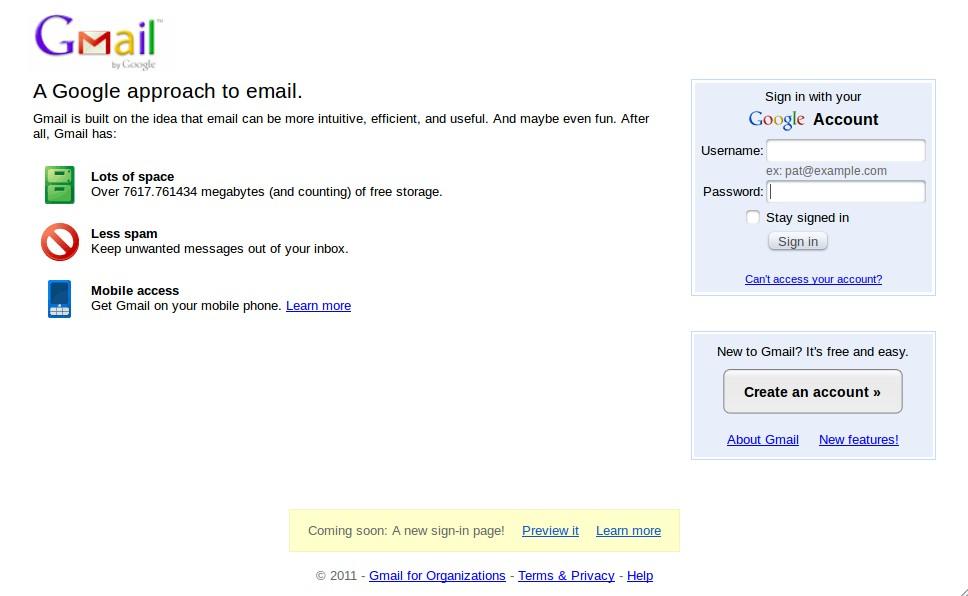 Old (current) GMail / Google Account Login Screen