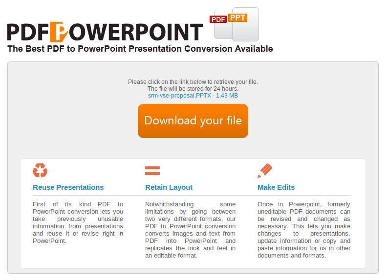 Your PDF presentation converted to PPT