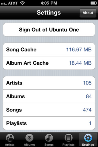 Ubuntu One music app for iPhone & iPod