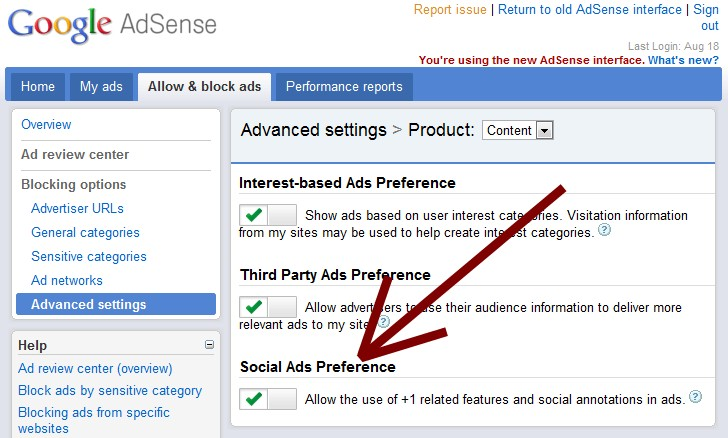 Disable Google Plus from Adsense