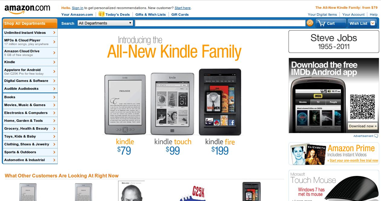 Amazon pays tribute to Apple CEO Steve Jobs