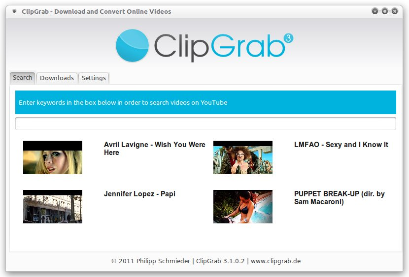 ClipGrab Search lets you download videos from Youtube directly by searching