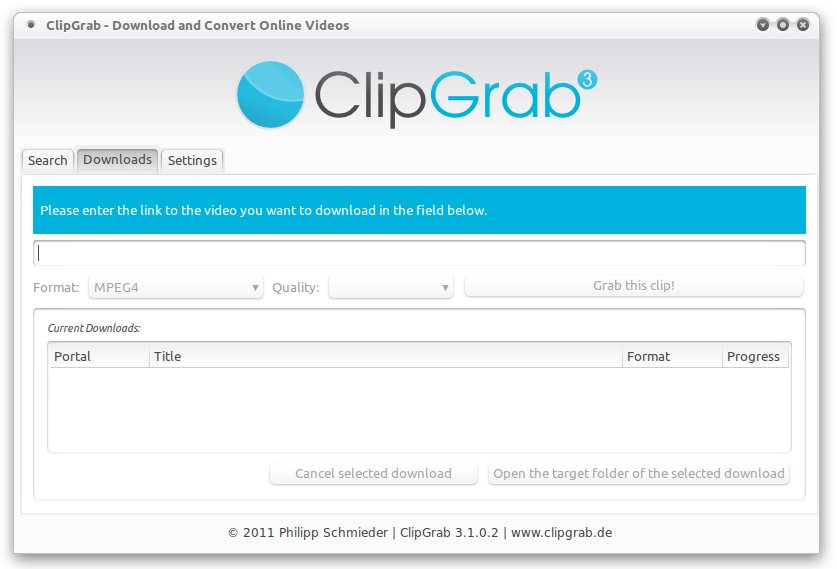 ClipGrab - Initial screen where you have to enter the URL of the video you want to download