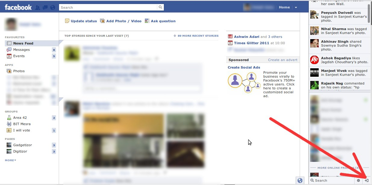 Click the button shown by the red arrow to hide the live-feed sidebar on Facebook