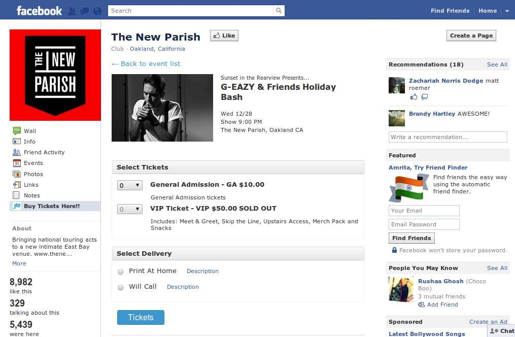 Buy Tickets directly on a Band's Facebook Page