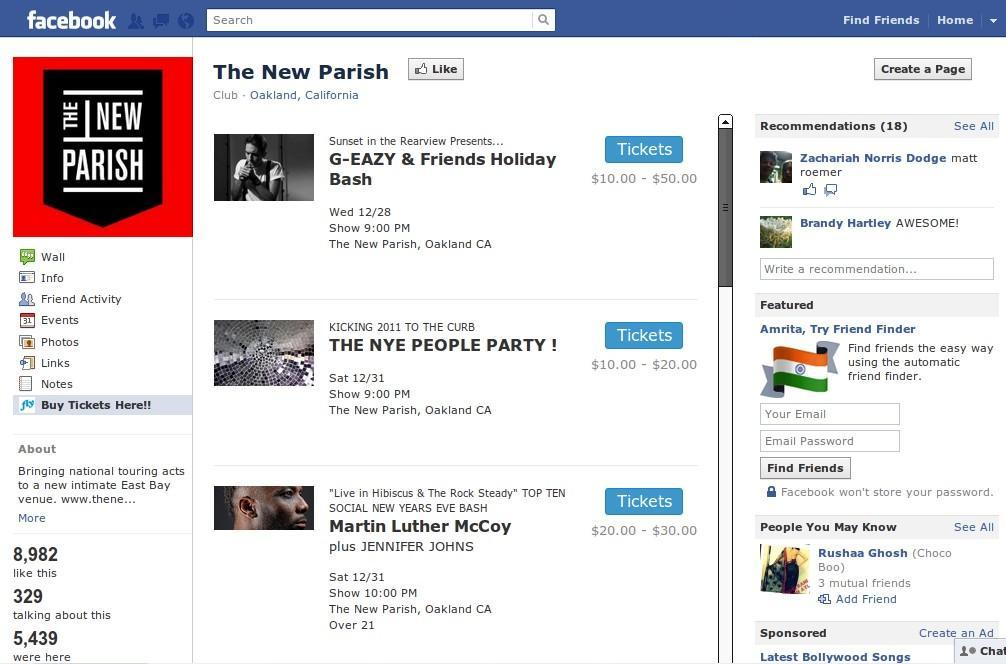 Ticketfly Facebook App on a Band's Facebook Page