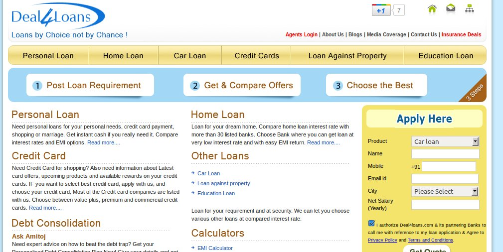 deal4loans.com lets you calculate interests on your loans and get suitable quotes