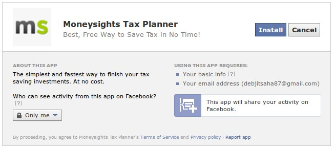 Permissions required for the Moneysights Facebook app