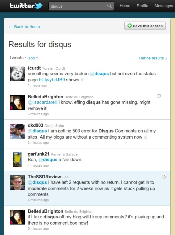Users discussing Disqus's downtime on Twitter