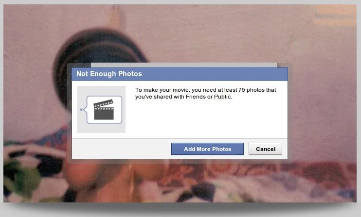 Insufficient Photos Error Message - Timeline Movie Maker
