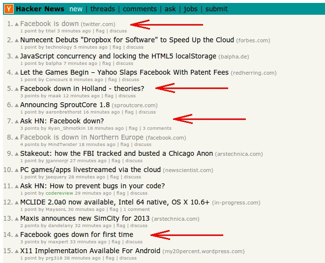 Hackernews flooded with Facebook down messages