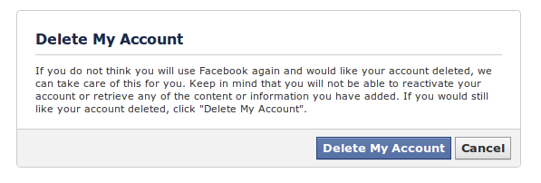 Delete (NOT Deactivate) your Facebook Account