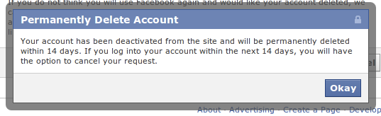 How to permanently delete not deactivate a facebook account de activation confirm and deletion grace period ccuart Images