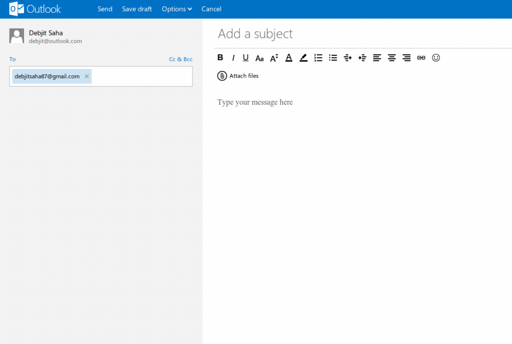 Send button in Outlook.com is NOT a button, but a Link