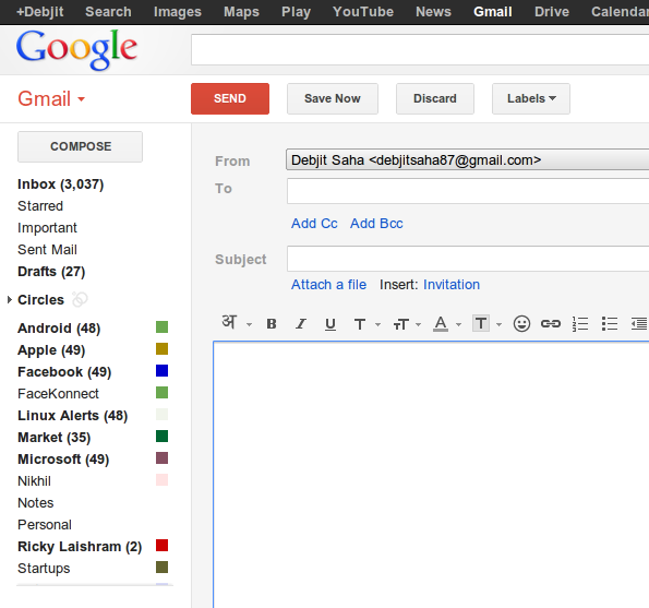 Send button in GMail stands out