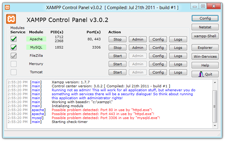 XAMPP Control Panel 3 Beta