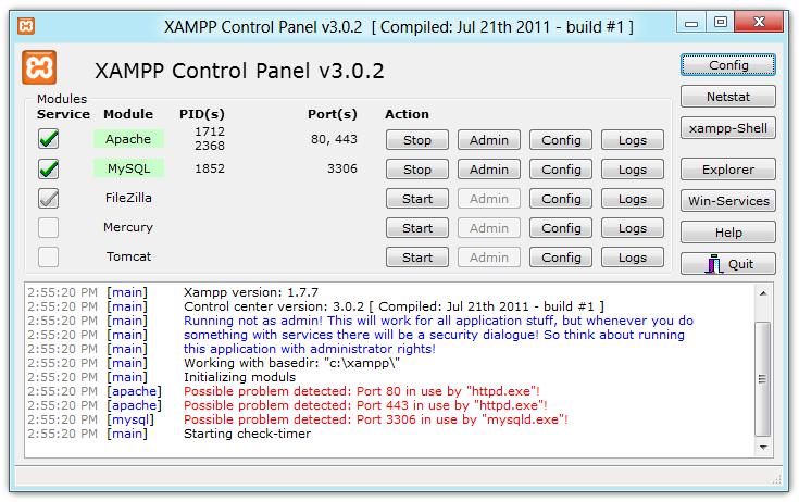 XAMPP Control Panel 3 Beta